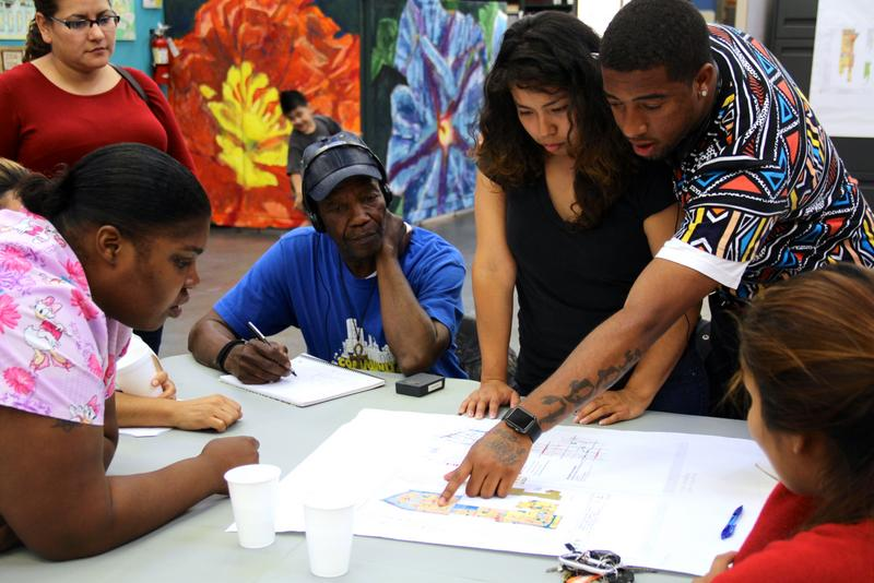 UNIDAD members studying Southeast LA community plan map